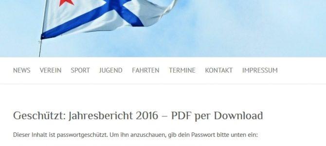 Passwort geschützte Beiträge auf der SC Gothia Website