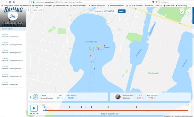 Screenshot Kwindoo Tracking - Clubregatta SCG Frühling 2018 kurz nach dem Start