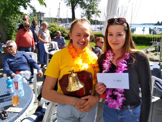 Gewinner der 1. Clubregatta 2019: Nele Wettstein und Maria A. mit ihrem 420er - Photo © T. Engel / SC Gothia
